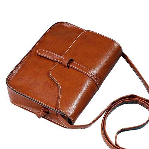 Umhängetasche Damen, Sunday Vintage Handtasche Tasche Leder Cross Body Schultertasche Messenger Solide Farbe Bag Mädchen Taschen (Braun) (Platz Solide Tasche)