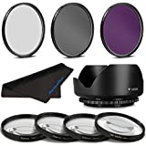 67MM Professional Macro & Lighting Filter Kit for Sony FE 24-70mm F4 ZA OSS Carl Zeiss Vario Tessar T*, 67 mm CPL + UV + FLD + 4 Piece Close Up Kit & 67 mm Lens Hood, 67mm Filter Bundle