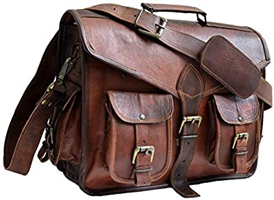 Jaald 40 Cm Mallette Porte-Documents Serviette Sac Messenger À Bandoulière'Épaule en Cuir pour Ordinateur Portable Business Voyage Messagerie Cadeau Homme Et Femme Leather Shoulder Bag Briefcase