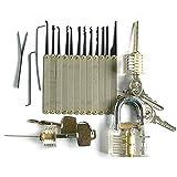 ueasy 18Stück Vorhängeschloss & Lock Quick Öffner Set Entriegelung Lock Pick Key Extractor Tool Profi transparent Cutaway Praxis Vorhängeschlösser und frei von Zerbrochenen Schlüssel, Werkzeug