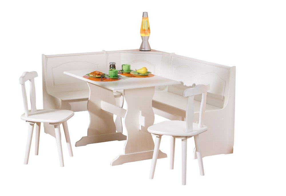 Panca Angolare Con Tavolo.Inter Link Zona Pranzo Con Panca Angolare Tavolo Sedie In Pino Massiccio Verniciato Bianco Arredamento24