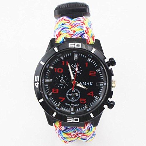 Altsommer Überleben im Freien, Weben Watch Armband,Sports Replacement Bracelet Paracord Kompass Flint Fire Starter Whistle Neu Uhre,Ersatzband Watch Armband (Multicolor)