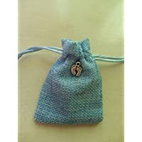 bomboniera battesimo bimbo nascita sacchetto azzurro ciondolo piedino argento