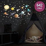 Wandkings Leuchtaufkleber - Unser Sonnensystem, Sterne und Sternschnuppen - 642 einzelne Aufkleber - Fluoreszierend & im Dunkeln leuchtend