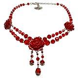 Alpenflüstern Blüten-Perlen-Trachtenkette Lucy mit Metall-Blumen - Eleganter Damen-Trachtenschmuck, Dirndlkette Rot DHK157