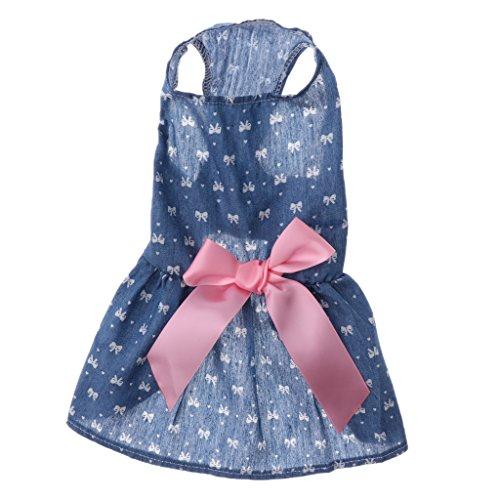 MagiDeal Haustier Hunde Kleid Welpen Rock mit Schleife Sommer Hundebekleidung Hundekostüm - Kleine...