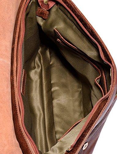 LEABAGS Oxford Umhängetasche aus echtem Büffel-Leder im Vintage Look - Muskat Rosso