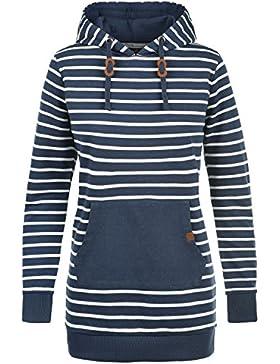 BLEND SHE Cloey Damen Kapuzenpullover Hoodie Sweatshirt mit Streifen und Kängurutasche