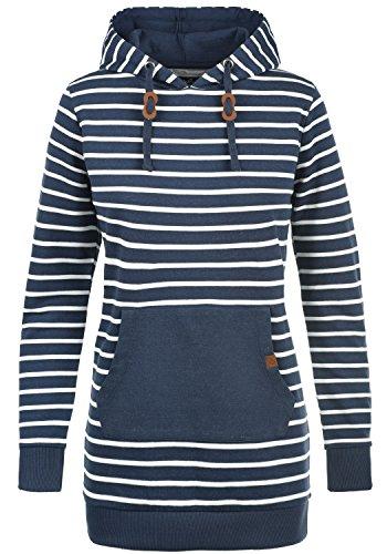 BLEND SHE Cloey Damen Kapuzenpullover Hoodie Long Sweatshirt mit Fleece-Innenseite Longline Sweat-Kleid aus hochwertiger Baumwollmischung, Größe:XL, Farbe:Navy (70230)