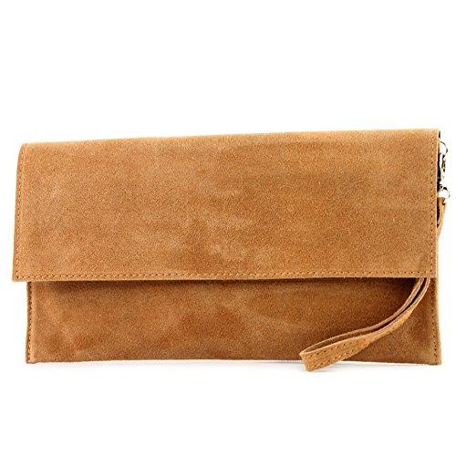 modamoda de - T151/M151 - ital. Clutch Wildleder/Leder Metallic, Farbe:Camel (Kleidungsstück Leder Tasche Große)