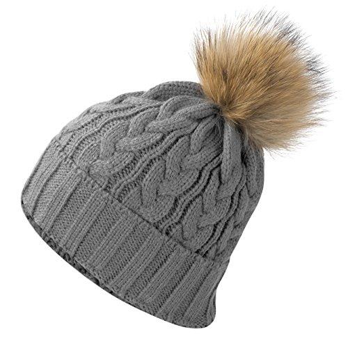 Yidarton Frauen Mädchen Strickmütze Pelzmütze Echt Große Waschbär Pelz Pom Pom Beanie Hüte Winter (A-Grau) (Pelz-pom-pom Echte)