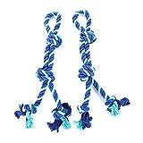 Pet Toys - Big Dog Doppelknoten Baumwollseil Spielzeug Goldenes Haar Molar Spielzeug Haustier Hund Seil Blau 2 Pack - Geeignet für Katzen und Hunde