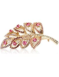 Fashion Plaza Damen Brosche mit rosa Kristall elegant Feder Form BR120