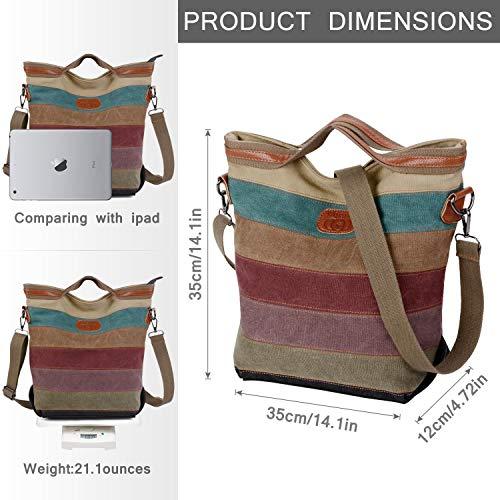 2014 Fashion Damen Mädchen Handtasche Umhängetasche Schultasche Alltagstasche Universal Leinwand Multifunktion mit Schulterträger - 3