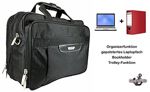 Große Aktentasche Laptoptasche erweiterbar Messenger Herrenumhängetasche Arbeitstasche A4 Flugbegleiter Farbe Schwarz Schwarz