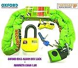 Oxford Boss Alarma de 14mm de discos Lock Thatcham Aprobado + 1.8m Mammoth–Candado de cadena Cat 3+ DLR