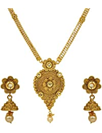 Jewels Galaxy Elegant Floral Design Gold Plated Necklace Set For Women/Girls