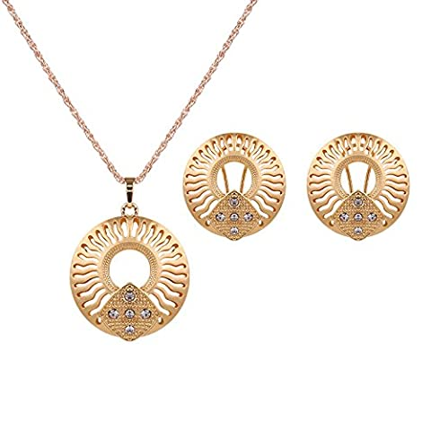 Ornements de noce diamant collier boucles d'insertion de deux pièces d'or KC