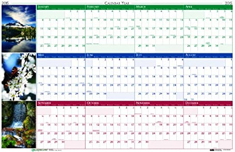 House of Doolittle Earthscapes Laminated Write-On/Wipe-Off Wall Planner, January 2015 to December 2015, 24 x 37 Inches, Nature Photos, Recycled (HOD393)