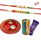 #10: Maalpani Rakhi Gift Set of 2 Fancy Rakhi - Ganesh Pooja Thali and Designer Tin Box Gift Hamper