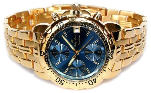 Oskar Emil Gents Caesium 1119G 23K Gold Chronograph Sports Watch with Blue Dial