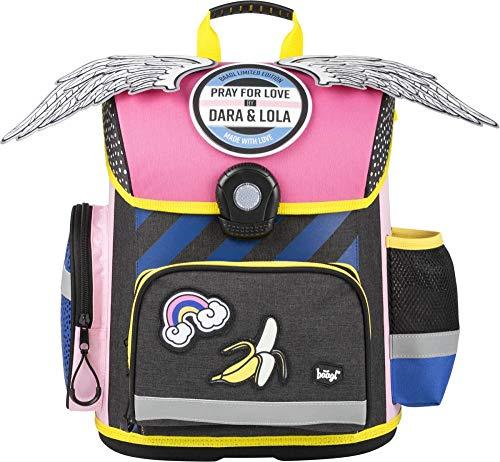 Baagl Schulranzen für Mädchen - Grundschule Ranzen mit ergonomisch geformter Rücken, Brustgurt und reflektierende Elemente - Wasserdichte Schultasche, Ranzen