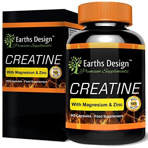Créatine - Creatine Monohydrate avec Magnésium, Zinc, Vitamin B6 - 90 Capsules (3 Mois d'Approvisionnement) de Earths Design