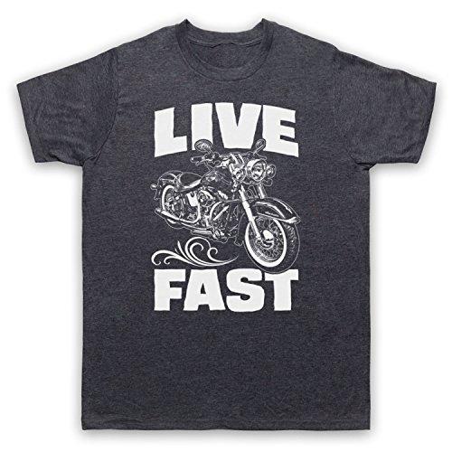 Live Fast Motorbike Herren T-Shirt Jahrgang Schiefer