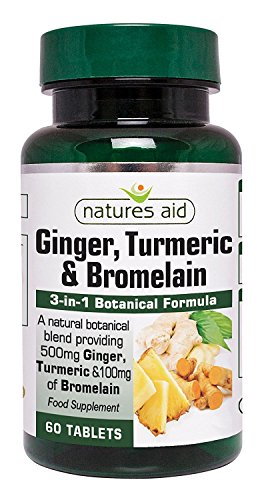 Natures Aid Ginger Turmeric and Bromelain, 60 Tablets (3-in-1 Botanical Formula, 500 mg Ginger, 500 mg Turmeric, 100 mg Bromelain, Made in the UK, Vegan Society Approved) Test