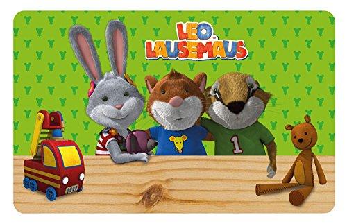 p:os 24176 Leo Lausemaus mit Gummifüßen Frühstücksbrettchen, ca. 23,5 x 14 x 0,5 cm