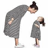 Bekleidung Longra Mama und Kinder Mädchen schwarz und weiß gestreiften Frühjahr Baumwolle Kleider Kleid mit Familie Freizeitkleidung Beiläufig Kleider