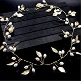 Ziory 1pc Golden Pearls Gold Leaves Wedding Bridal Headband (50 cm) Bride Bridesmaid Hair Headdress Pearl Floral, Hair Vine and Headpiece Floral Hair Accessories Wedding Jewellery for Girls and Women