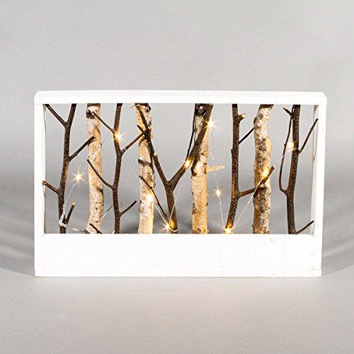 Beleuchtete Weihnachtsdeko Holz Rahmen mit Weidenzweigen, 10 LEDs warmweiß, 43cm, von Festive Lights