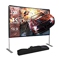 ‏‪Dessports 4K Projector Screen with Stand 100 inch HD Portable Outdoor Movie Screens Wrinkle-Free Foldable Video Projection with Carry Bag for Indoor Office Home Backyard Theater‬‏