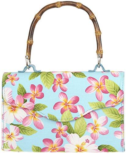 Borsa Donna Rickie Bamboo Flower Handbag Blu Turchese Brillante Con Fiori