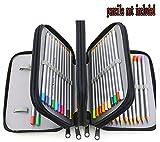 Xiaoyu 72 titolari portapenne porta matita con cerniera multipla e manico in tessuto oxford per matita acquerellata, penna gel, piccolo pennarello, nero (non incluse le matite)