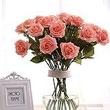 Ten piece Pink Rose Artificial Flower Real Touch Artificial Bouquet Flowers