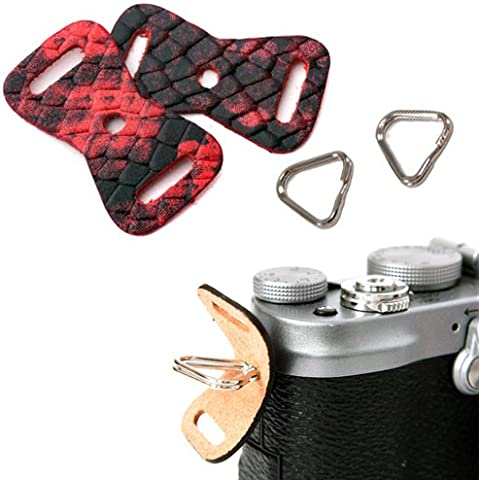 GRIMM D-SLR RF Mirrorless Camera Strap Lug Ring + Leather Cover Set (Anaconda Rosso / 1 paio)