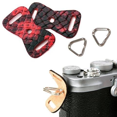 GRIMM D-SLR RF Mirrorless Camera Strap Lug Ring + Leather Cover Set (Anaconda Red/1 Pair)