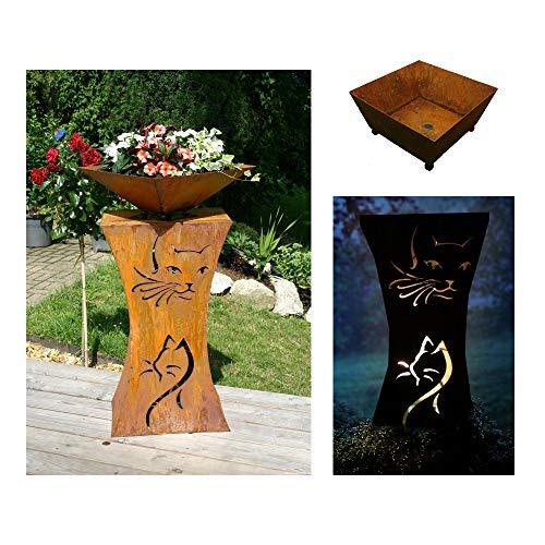 EQT-TEC Designer Garten 90cm Rostsäule + Blumenschale Dekoration Edelrost Säule Pflanzschale Katze