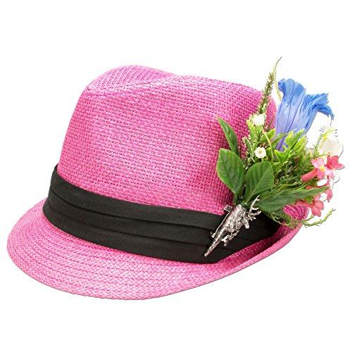Alpenflüstern Damen Trachtenhut Strohhut Alpenblüten ADV09300M25 pink