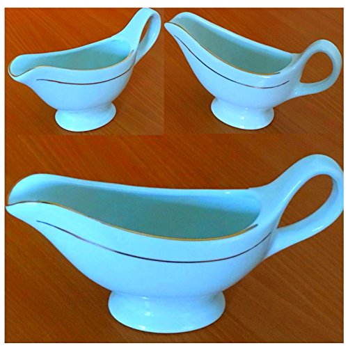 3 Stück Sauciere aus Porzellan 180 ml Elegante Sossen-Schüssel STAR-LINE® Ideal zum Servieren von Bratensoße ,kalte und warme Saucen oder Dressings - Porzellanschalen