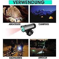 XANSPORT LED Fahrradlicht Set mit Halterung   Frontlicht und Rücklicht   StVZO zugelassen   Super Helle 50 LUX Original CREE LED   Breiter Lichtkegel   USB Wiederaufladbarer Akku   + Sattelschutzbezug