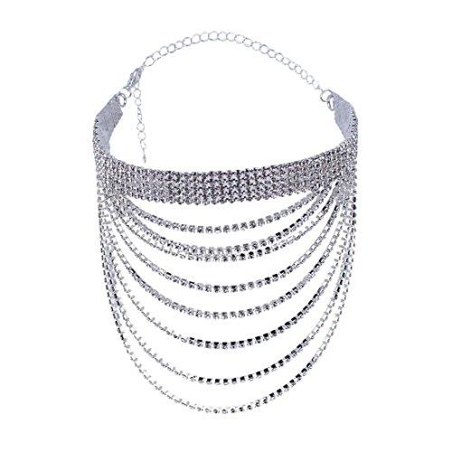 Mehrschichtige unregelmäßige Kristall Gold Anhänger Halskette Anhänger Damen elegant Strass Perlenkette Halskette Pendant Halskette Kette amulett zum öffnen mit Halskette (Silber) ()