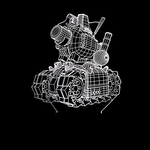 BFMBCHDJ Neue Maschine Tank Modell 3D Nachtlicht Bunte Touch Fernbedienung Led Visuelles Licht Geschenk Kleine Tischlampe A3 Schwarz basis + fernbedienung
