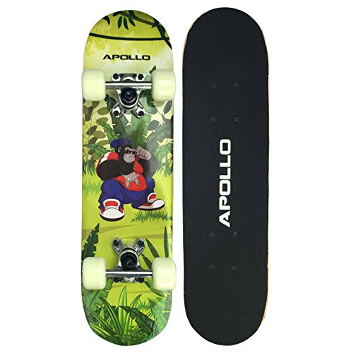 Apollo Kinderskateboard Gorilla Tom, kleines Skateboard für Kinder, 61cm lang