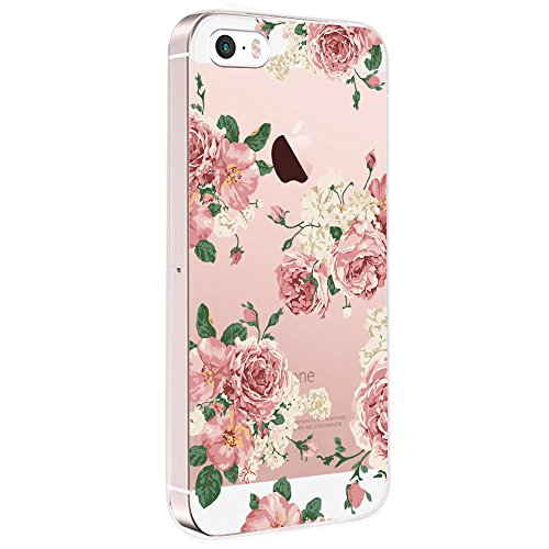Pacyer iPhone SE Hülle Silikon Ultra dünn Transparent iPhone 5S iPhone 5 Handyhülle Rückschale TPU Schutzhülle für Apple iPhone SE/5S/5 Case Cover Mädchen Elefant Federn (Blumen 6)