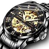Men\s Watch Black Luxury Mechanical Stainless Steel Skeleton Waterproof Automatic Self-Winding Luminous Diamond Dial Wrist Watch