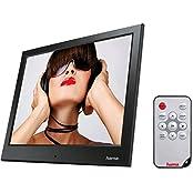 Hama Digitaler Bilderrahmen  Slimline Basic  (24,64 cm (9,7 Zoll), SD/SDHC/MMC-Kartenslot, USB 2.0, elektronischer Bilderrahmen mit Fernbedienung, Zufallswiedergabe) schwarz