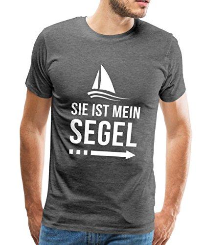 Spreadshirt Segel Partnermotiv Er Ist Mein Anker Männer T-Shirt, XXL, Anthrazit
